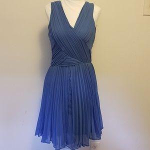 Blue Pleated Crinkle Dress NWT